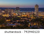 Night view of downtown skyline in Hamilton, Ontario, Canada