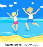 children jumping in the sea ... | Shutterstock .eps vector #79294261