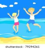 children jumping in the sea ...   Shutterstock .eps vector #79294261