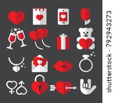 valentines day flat icons | Shutterstock .eps vector #792943273