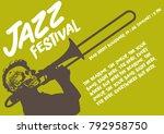 jazz festival flyer poster art... | Shutterstock .eps vector #792958750