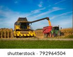 Corn harvester  in the field of ...