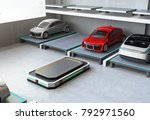 after parking red car at... | Shutterstock . vector #792971560