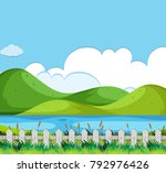 background scene with hills and ... | Shutterstock .eps vector #792976426