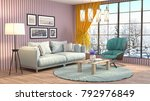 interior living room. 3d... | Shutterstock . vector #792976849