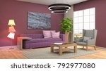 interior living room. 3d... | Shutterstock . vector #792977080