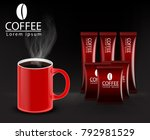 instant coffee with red... | Shutterstock .eps vector #792981529