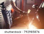 man wear protective mask and... | Shutterstock . vector #792985876