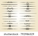 set ornamental rule lines in... | Shutterstock .eps vector #792986329