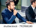 businessman sitting at business ... | Shutterstock . vector #792988180
