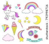 unicorn magic design element set | Shutterstock .eps vector #792998716