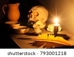 Small photo of Masonic reflection chamber with alchemic symbols: the skull, the pen, the salt, the mercury, the sulphur