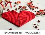 luxury red paper napkin folded... | Shutterstock . vector #793002364