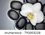 White Orchid And Black Stones...