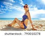 sun kissed beauty. happy fit... | Shutterstock . vector #793010278