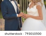 bride and groom putting a... | Shutterstock . vector #793010500
