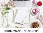 feminine flat lay workspace... | Shutterstock . vector #793010704