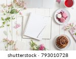 feminine flat lay workspace... | Shutterstock . vector #793010728