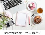 pink frame with marker.... | Shutterstock . vector #793010740