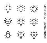 light bulb  line icon set.... | Shutterstock .eps vector #793011034