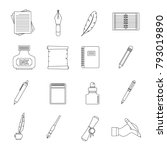writing icons set items.... | Shutterstock .eps vector #793019890