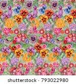 colorful flower mix. seamless... | Shutterstock . vector #793022980