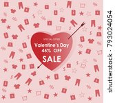 valentine's day 45  off sale... | Shutterstock .eps vector #793024054