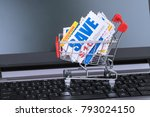 saving discount coupon voucher... | Shutterstock . vector #793024150