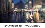 people on the rainy night in...   Shutterstock . vector #793028899