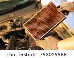 changing air filter car. | Shutterstock . vector #793029988