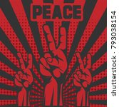 peace hand red vector... | Shutterstock .eps vector #793038154