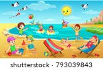 Kids Playing On Beach Vector...