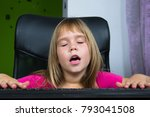 little girl sitting at the... | Shutterstock . vector #793041508