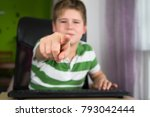 obese little boy show by finger ... | Shutterstock . vector #793042444
