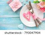 romantic dinner concept. table... | Shutterstock . vector #793047904
