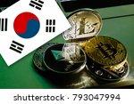 bitcoin bitcoin on south korea... | Shutterstock . vector #793047994