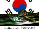 bitcoin litecoin gold us dollar ... | Shutterstock . vector #793055398