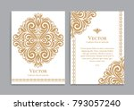 gold vintage greeting card on a ... | Shutterstock .eps vector #793057240