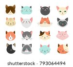 Stock vector collection of cats illustrations icons avatars 793064494