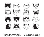 Stock vector cute cats collection vector icons hand drawn illustrations 793064500