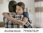 sad little boy hugging his... | Shutterstock . vector #793067629