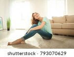 beautiful smiling woman sitting ... | Shutterstock . vector #793070629