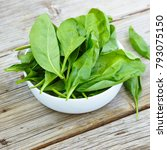 baby spinach in a white bowl on ... | Shutterstock . vector #793075150