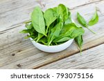 baby spinach in a white bowl on ... | Shutterstock . vector #793075156