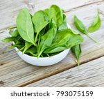 baby spinach in a white bowl on ... | Shutterstock . vector #793075159