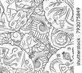 seamless mehndi vector pattern. ... | Shutterstock .eps vector #793075849