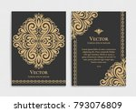 gold vintage greeting card on a ...   Shutterstock .eps vector #793076809