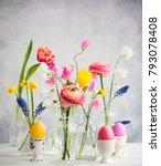beautiful flowers bouquets in... | Shutterstock . vector #793078408