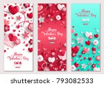 Stock vector happy valentine s day vertical banners set vector illustration holiday brochure design for 793082533
