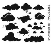 set of cloud black icon. cloud... | Shutterstock .eps vector #793083268